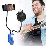 Kit de Support de Microphone Antichoc, Support de Microphone avec Bonnette Anti-vent et Filtre Anti-Pop Bras Réglable Pince de Table de Fixation pour Enregistrement Studio Karaoké