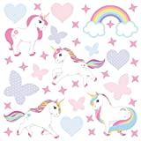 GET STICKING DÉCOR Licorne Cheval Stickers Muraux/Autocollants Collection, RainbowFamily Unic.4b, Vinyl, Multicolore. (Large)