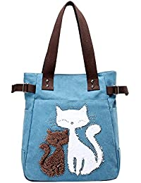 Open Shoulder Bags - JUMENG Tote Ladies Canvas Shoulder Bag ,Cut Cat Shoulder Bags For Girls Stylish
