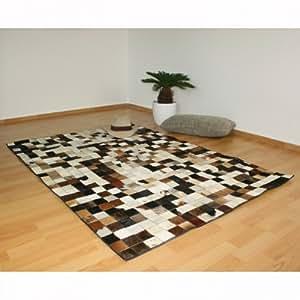 Tapis Carré Peau de vache Cuir carpet 160 x 230 cm -PEGANE-
