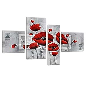 Bilderdepot24 3025 - Stampa su tela dipinta a mano, motivo papaveri retr, 4 pezzi, 120 x 70 cm