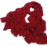 Avenella XXL Wollschal aus feiner Merinowolle (ca. 220x110 cm zzgl. 2x 1,5cm offene Fransen) unifarben sehr weicher Schal Tuch Stola aus 100% Wolle Damenschal einfarbig Rot