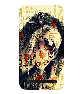 Fiobs beautiful girl hot looking glasses love lovely heart shape symbol Designer Back Case Cover for Asus Zenfone Go ZC500TG (5 Inches)