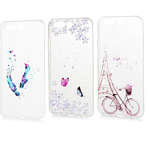 3 x Huawei P10 TPU Soft Tasche Weiche CASE KASOS Huawei P10 Hülle Schutzhülle Handyhülle Schale Protective Cover Silicone Taschen IMD Technologie ,Color feather + Butterflies and flowers + Bike Tower