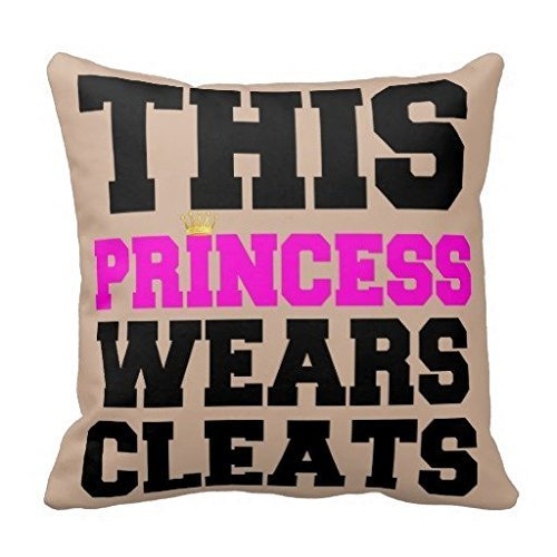 ZMYGH Decorative Cushion Cover This Princess Wears Soccer Softball Cleats Throw Pillow Case 18 * 18inches
