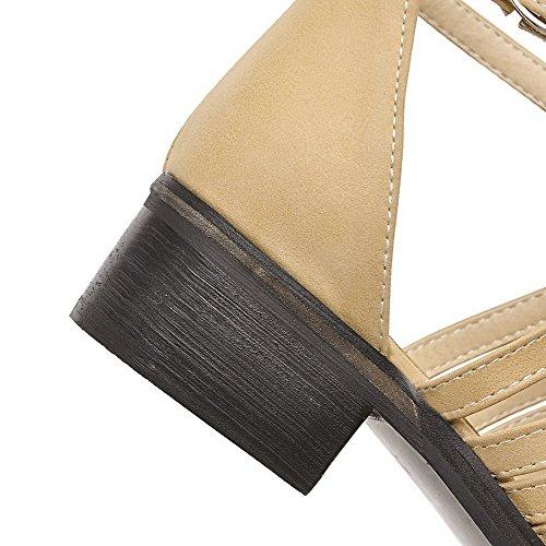 VogueZone009 Femme Matière Mélangee Boucle Pointu à Talon Bas Chaussures Légeres Abricot