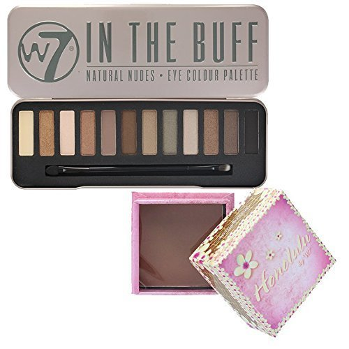 W7 - \'In The Buff\' Natural Nudes Eye Colour Palette (W7 In the Buff + Honolulu Face Powder)