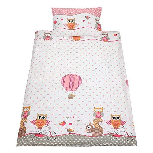 TupTam Kinderbettwäsche Set Gemustert 2 teilig, Farbe: Eulen Rosa, Größe: 135x100 cm