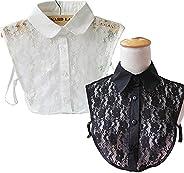 Flyou 2Pcs Lady Shirt False Collar Lace Half Shirt Detachable False Faux Collar Cuff Cotton Choker Tie