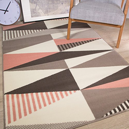 The Rug House Milan Traditional Rug for Living Room with Modern Design of Triangular Figures Alcanrins Gray Silver Pink Cream 120cm x 170cm (3'11 'x 5'7')