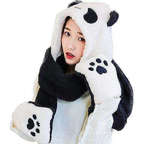 Eastlion Winter Cute Panda Thick Scarf Hat Gloves Three-piece