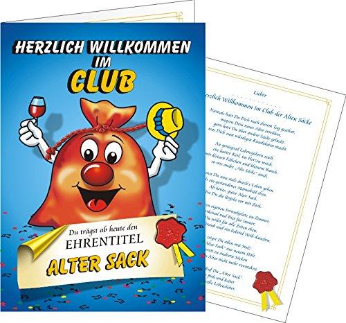 Variante Pass Alter Sack NEU Willkommen im Club Clubausweis Alte Säcke (Glückwunsch Karte Herzlich willkommen im Club Alter Sack)