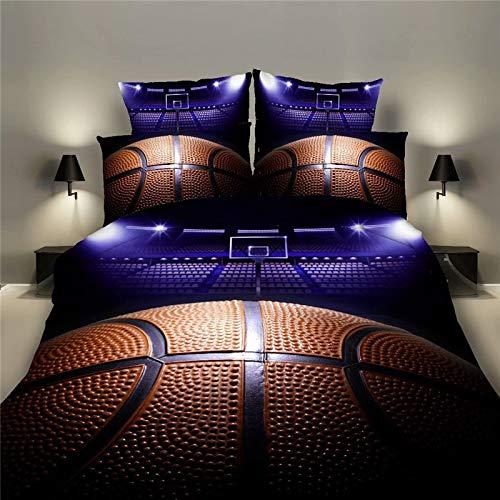 Gudelaa Bettwäsche-Set Gesteppte Tagesdecke Throw Double King Size 100% Baumwolle Druck Tröster Patchwork Quilt Bettdecke 2 Stücke Beding Sets Basketball (Bettwäsche Tasche: 150 * 210cm) -