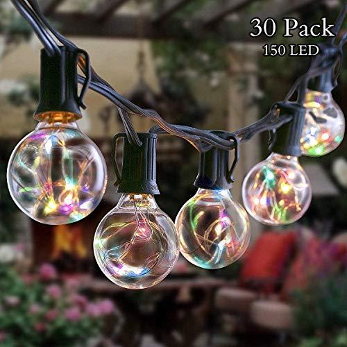 Lichterkette Glühbirne Strombetrieben GREEMPIRE G40 Bunt 30 Glühbirne 10M 150 LEDs Foto Lichterkette für Außen Innen Lichterketten für Zimmer Party Garten Balkon Dekoration -