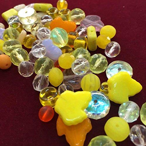 50g Boehmisches Glasperlen Gelb Crystal Mix PRECIOSA TSCHECHISCHE Kristall Perlen Set, Basteln Schmuck Set 8mm - 15mm R227 -