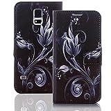 Numerva Samsung Galaxy J1 2016 Hülle, Schutzhülle [Design Handytasche Motiv] PU Leder Tasche für Samsung Galaxy J1 2016 Wallet Case [QBY-059 Schwarz]