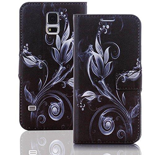 numerva Handyhülle kompatibel mit HTC Desire 510 Hülle [Black Smoke Muster] Case HTC Desire 510 Handytasche