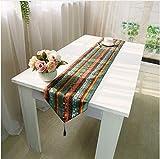 NKLHJ Tischläufer Tischläufer Stil Gestreift Leinen Elegante Hessische Jute Baumwolle Hochzeit Tischläufer Couchtisch Matte Hause (30 * 220 cm)