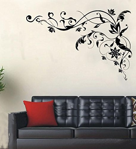 Oderin Art Wandbild Aufkleber schwarz Vine Blume Wandaufkleber Wandbild Wand Aufkleber für Home Wand-Kleiderschrank Decor