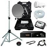 Camping SAT Koffer 40cm Spiegel + HD RECEIVER (12V & 220V) + single LNB + 10m Kabel +...