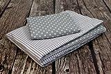 Amilian® Baby Bettwäsche Design:Pünktchen GRAU Größe 100x135 cm (40x60 cm) Bettset Kinderbettwäsche