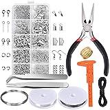 XRY - Kit de herramientas de reparación y accesorios para hacer joyas, alicates de joyería, abalorios para adultos y principiantes, incluye alicates, pinzas, accesorios plateados y alambre