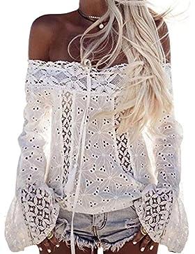 Elevesee Mujer Encaje Blusas de manga larga Camisas sin tirantes