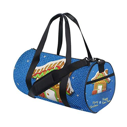 ISAOA Duffel Bag Christmas House Cookie Faltbare Turnbeutel faltbar Barrel Gym Bag Sport Wasserabweisend Duffel Bag für Damen und Herren Barrel Cookie