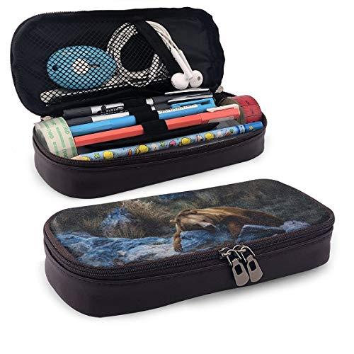 Brauner Bär ruht auf einem Rock Federmäppchen Federmäppchen Stiftehalter Box Organizer Durable Studenten Schreibwaren mit Doppelreißverschluss Stifthalter für Schule/Büro/Reisen -