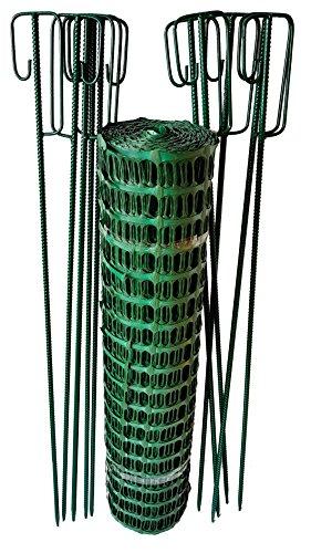 UvV-Reflex Set 50m Fangzaun GRÜN, 10 Absperrleinenhalter grün, Absperrnetz, Maschenzaun, Bauzaun Rolle Kunststoff besonders Reissfest, 150 gr (7,5 kg) -
