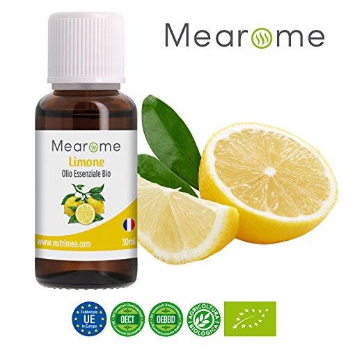 Olio Essenziale di Limone • 100% Puro, Naturale e Vegano • Olio Essenziale per Aromaterapia, per Massaggi, per Diffusori • Certificato OEBBD, OECT e Agricoltura Biologica • 30 Ml Mearome