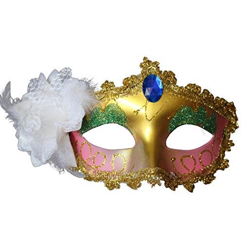 sarahbridal Sexy Spitze Feder venezianische Ball Maske Kostüm Paillette Blume Party Eye Masken MJ013