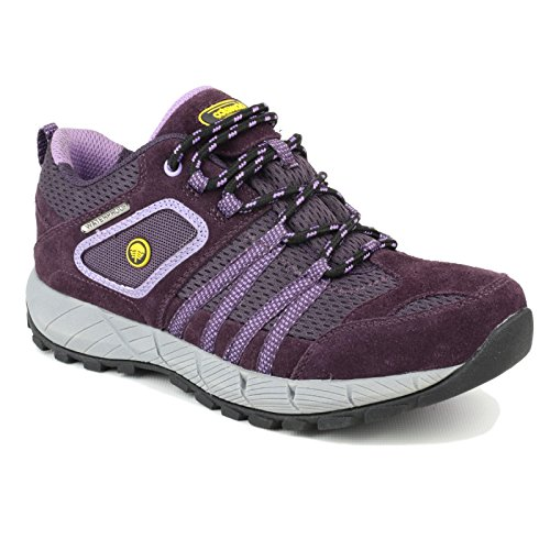 Cotswold Ladies Sevenwells Lace Up Leather Walking Hiking Trainer Pink purple