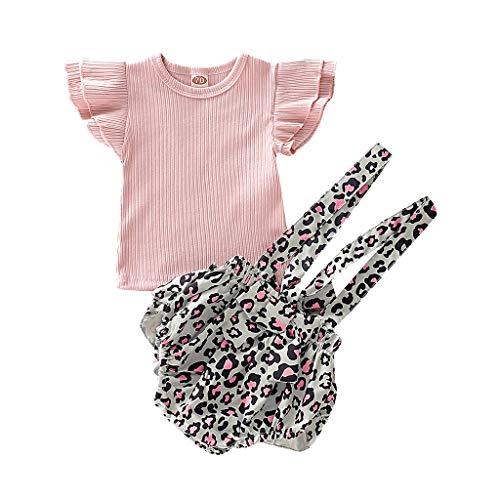 Day.LIN Mädchen Basic Kleinkind Säuglingsbabykleidung Set Kurzarmshirts + Strap Rock oder kurzes Baumwolloutfit Set 2 Stück 0.5-4 Jahre