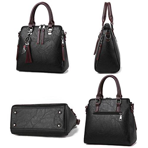 Ruiren Multifunktions Metall Schnalle Soft Tasche Portable Schultertasche Frauen Messenger Bags Frauen Handtasche Schultertasche Schwarz