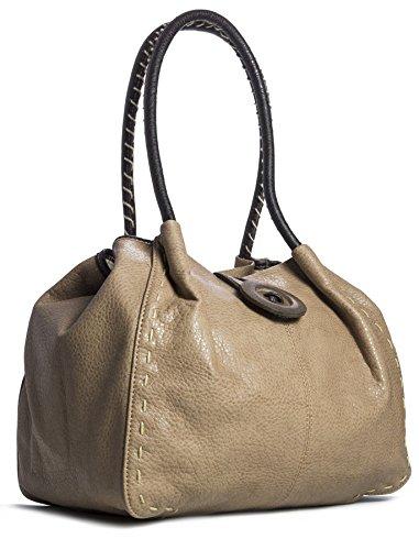 Big Handbag Shop moderne Damen Schultertasche Boutique aus Kunstleder Taupe