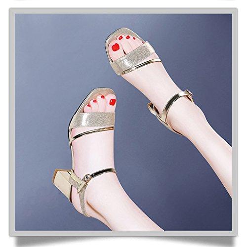 HWF Chaussures femme Sandales Femme Eté Femme Chaussures Talons hauts ( Couleur : Noir , taille : 38 ) Or