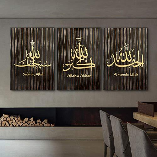zszy Islamische Wandkunst Schwarze Linie Kalligraphie Leinwand Malerei Bilder Kunstdrucke Islam Wand Poster Wohnzimmer Wohnkultur-50x70cmx3 stücke kein Rahmen