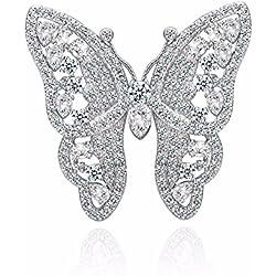Broche plateado con forma de mariposa