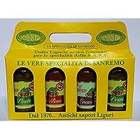 pesto y salsas italianas - Cuarteto de sabores italianos- Pesto de albahaca - Pesto - rojo con tomates secos - Crema de aceitunas negras