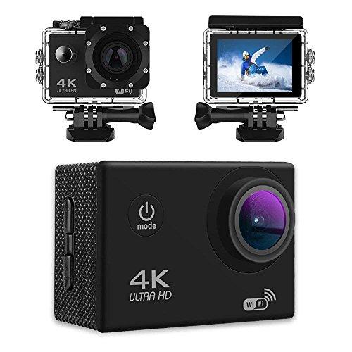 Ausverkauf - 4K Action Kamera, Pemenol 12MP 1080P Sports Cam WiFi 170° Weitwinkel Wasserdicht Helmkamera mit Sony Sensor, 2.0 LCD 2.4G Fernbedienung zum Schwimmen, Klettern, Tauchen (Schwarz)