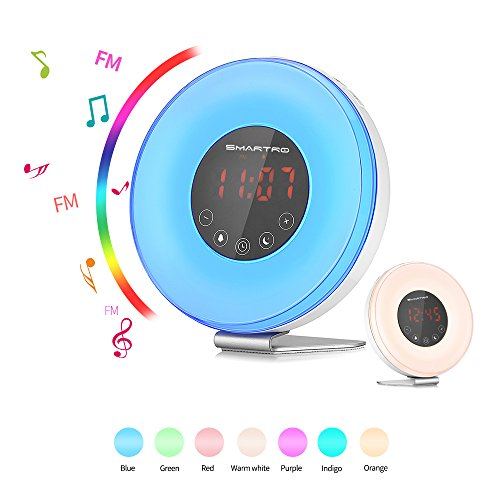 Wake Up Licht Wecker, SMARTRO Wecker Kinder Lichtwecker 2018 mit Sonnenaufgang Simulation Dämmerung Fading Nachtlicht, Natur Sounds 7 Color, FM Radio, Touch Control