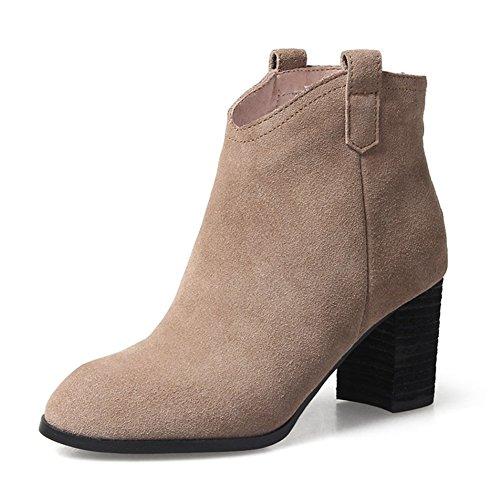 Stivali tacco grosso/Punta d'Inghilterra stivali e piuma frizzled stivali e inverno/High heels stivali nudo-D Lunghezza