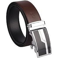 B&W Men's Premium Leather Reversible Belt (Brown,44)