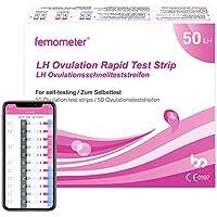 Femomter 50 test de ovulación 20 mIU/ml, Resultados Precisos con la App (iOS & Android) Reconocimiento Automático de los Resultados de las Pruebas