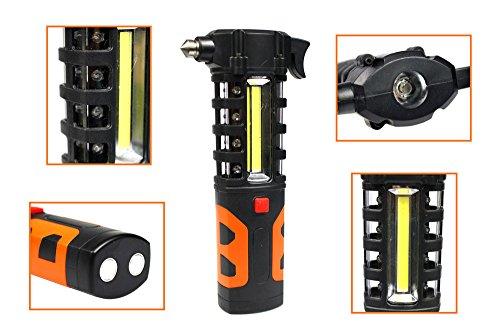vetrineinrete® Hammer Notfall Scheibenzertrümmerer für Auto mit LED Taschenlampe und Größe Gürtel Sicherheits Hammer Lebensrettende in Glas B30 (Batterie Betrieben Hammer)