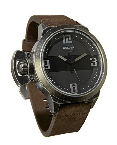 Welder K24-3604 Herren-Armbanduhr, Quarz, Lederband in Braun und Zifferblatt in Schwarz