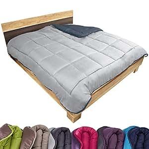 beautissu couette synth tique bicolore r versible sp cial t duvet couverture 220x240 cm. Black Bedroom Furniture Sets. Home Design Ideas