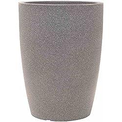 PP-Plastic Blumentopf Verona, Kunststoffbehälter für Pflanzen, Pflanzkübel für Innen- und Außenbereich, in taupe mit Granitoptik, wetterfester Übertopf mit einem Füllvolumen von ca. 52,5 l