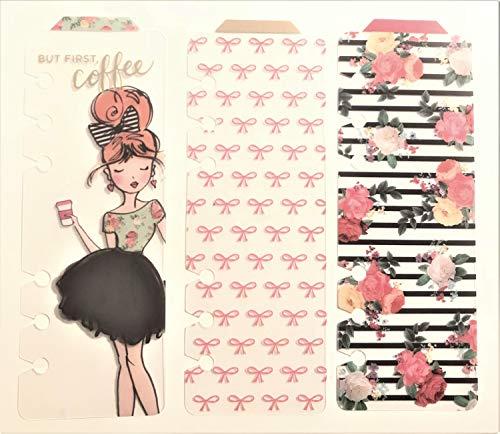 Lesezeichen für Kalender, 52 persönliche Planer, Kaktusschleifen, hübsches Mädchen, Kaffeebrause, 3 Stück